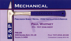 S&P Mechanical business card